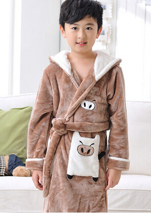 New winter thick warm cotton long-sleeved coral velvet robe girls boys flannel pajamas for children<br><br>Aliexpress