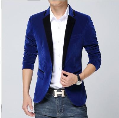 Mens blazer slim fit suit jacket black navy blue velvet 2015 spring autumn outwear coat Free shipping Suits For Men(China (Mainland))