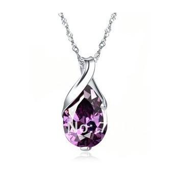 Angel tears new fashion zircon crystal pendant high quality wholesale fashion jewelry necklace fashion-5 color(China (Mainland))