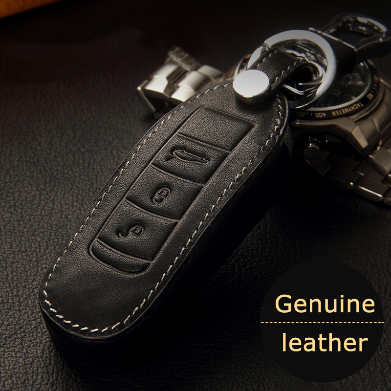 New Genuine leather car remote key cover case for porsche cayenne 911 996 macan 2015 boxster 986 987 981 car leather key cover(China (Mainland))
