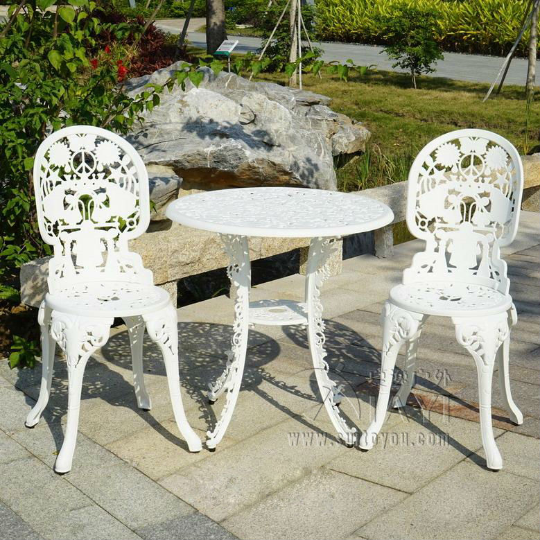 3 Piece Cast Aluminum Durable Tea Set Patio Furniture Garden Furniture Outdoo