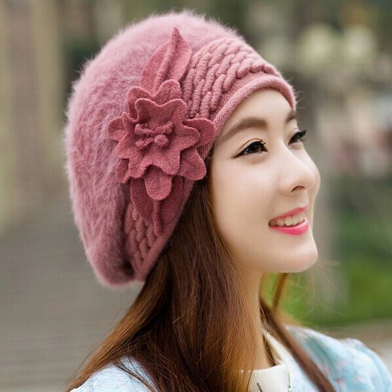 2015 New Hot Fashion Winter Warm Floral Rabbit Fur Beret Winter Hat Beret Hat For Women/Girl 9 Colors free shipping(China (Mainland))