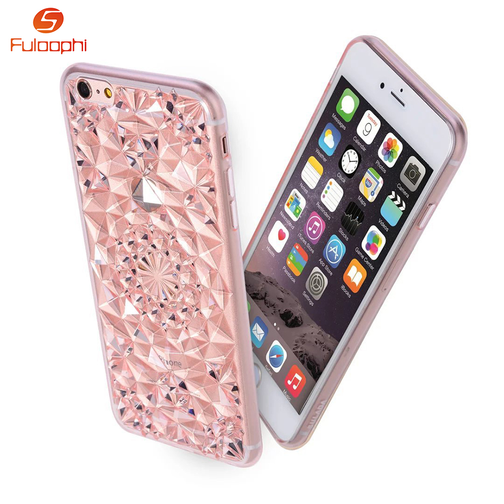 Hot Selling 3D Stereoscopic Diamond TPU Soft Phone Case Luxury Bling Crystal Cell Phone Case For iphone 5 5s SE 6 6s 6/6s Plus(China (Mainland))