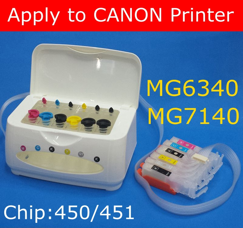 CISS FOR CANOM PIXMA MG6340 MG7140  chip PGI- 450bk CLI- 451BK C M Y GY 6 COLOR ink Cartridge Continuous Ink Supply System<br><br>Aliexpress