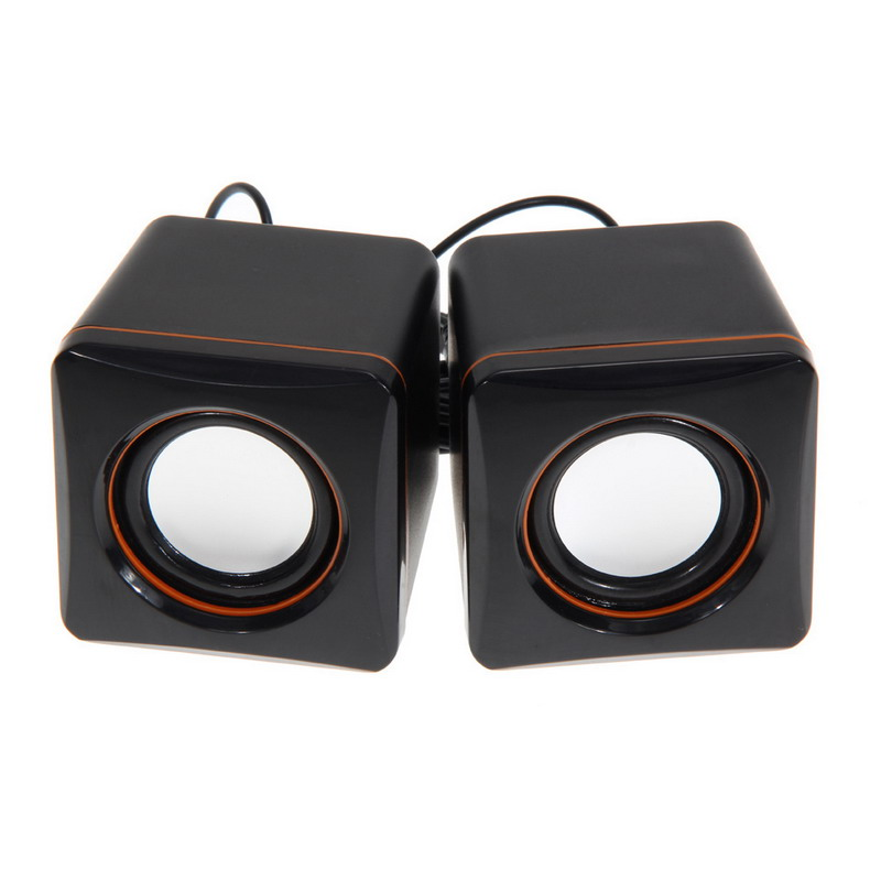 USB DC 5V 3.5mm Audio Interface Stereo Mini PC Speaker Subwoofer Black For Desktop Laptop Notebook Tablet