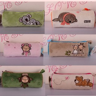 candice guo! NICI plush animal cute cylinder Pencil bag cartoon lover sheep bear koala sea lion Cosmetic bag 1pc(China (Mainland))