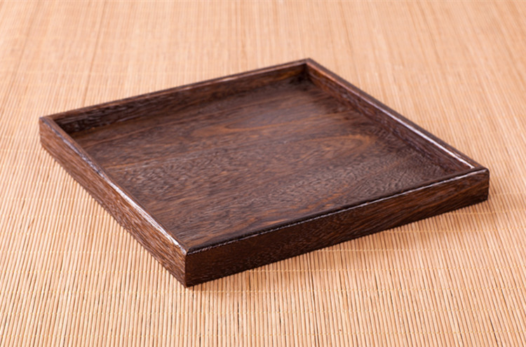 Tong burning wood tray tea tray square plate restaurant hotel dessert fruit cup holder coaster small tray(China (Mainland))