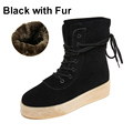 Hot Cow Muscle Sole Women Snow Boots Winter Warm Women Lace Up Plus Velvet Fashion Boots