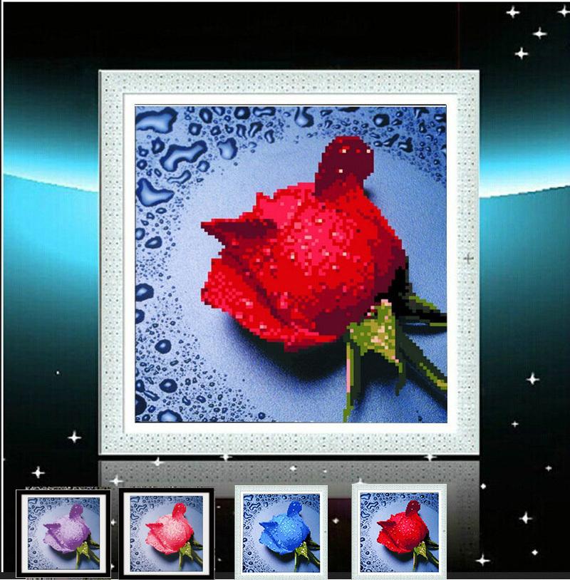 Diy Round Resin Diamond Painting 4 colors of roses Rhinestone Pasted Painting Crystal Drill diamond embroidery mosaic needlework(China (Mainland))