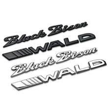 black bison wald separate letters metal electroplated car styling car emblem trunk badge logo 3d sticker for bmw benz bison