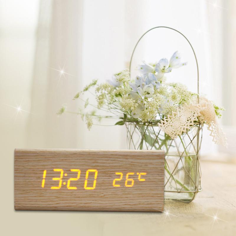 DU# Sound Control USB Solid Wooden Desk Bedside Digital Alarm Clock Tempreture Display Orange Light New Promotion Free Shipping(China (Mainland))