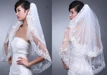 2 Layers New Elegant Lace White Wedding Bridal Bride Veil Comb Free Shipping(China (Mainland))