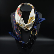 Silk Scarf Acrylic Pendant Multilayer Scarves Pattern Printed Muffler Designer Luxury Brand Scarf 2015 New Women Autumn Fashion(China (Mainland))
