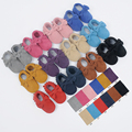 New suede Baby Moccasins Genuine cow Leather Toddler Tassel bow Baby soft Shoes First Walkers Anti