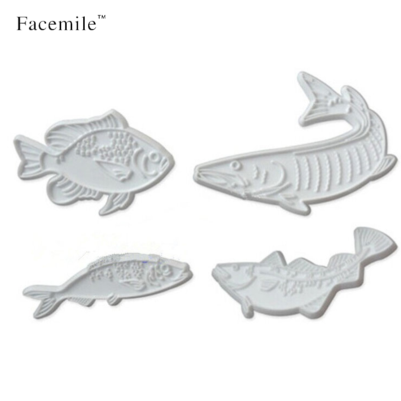 4pcs Popular Kitchen Tool Fondant Cake Tool Plastic Fish Shape Cookie Cutters Plasic Bakeware cake decoration tools 04073(China (Mainland))