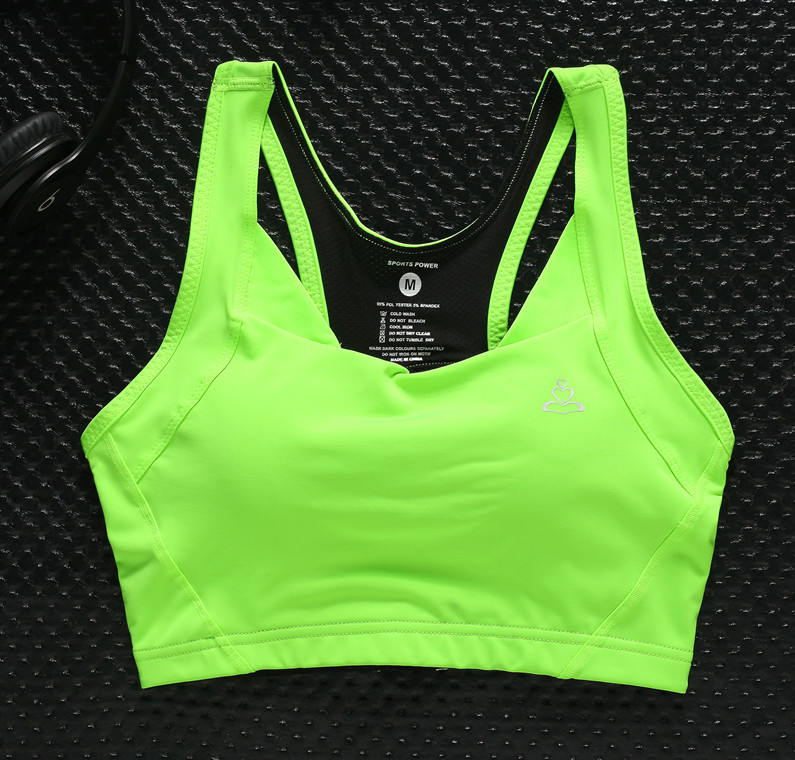 ladies push up active no rims bra fixed pad running Shock proof bra on sale full cup back closure sport bra for young girl(China (Mainland))