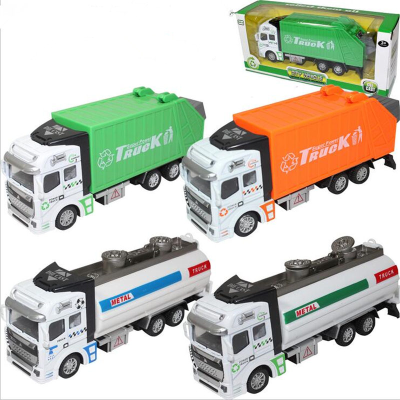 Engineering Van Sprinkler Tank Car Watering Cart Garbage Truck Rubbish Collector Toy for kid Simulation Vehicles Truck Toys(China (Mainland))