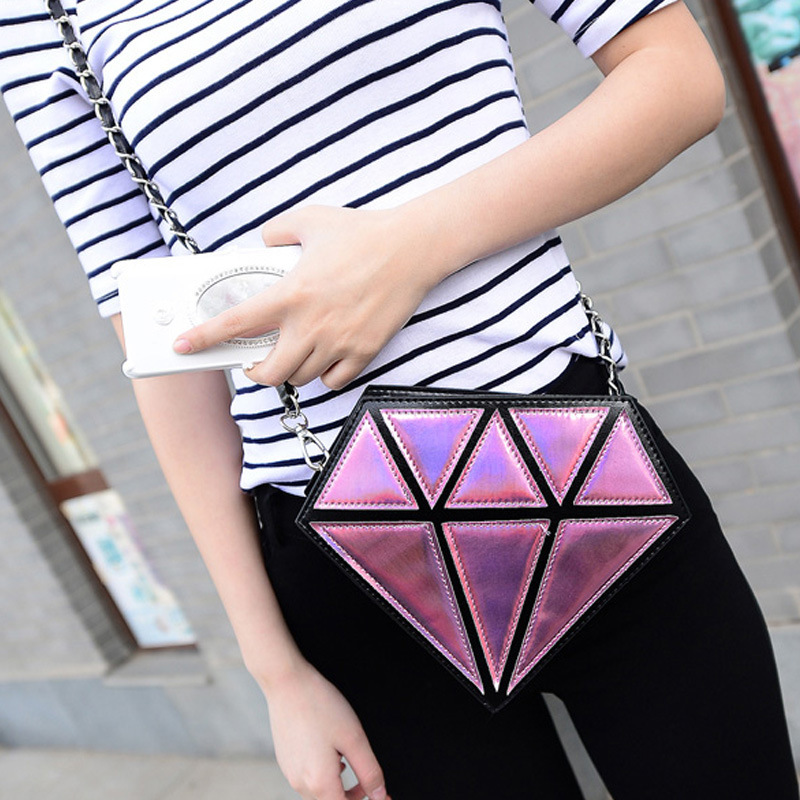 Diamond Shape Women Bag Laser Women Messenger Bags Fashion Small Bag Cool Bags For Party Bling Mini Clutch Wallet For Lady Purse(China (Mainland))