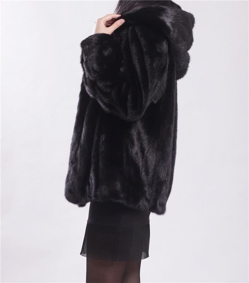 low low low 2015 winter new fashion  real mink fur black mink import Finland short coat