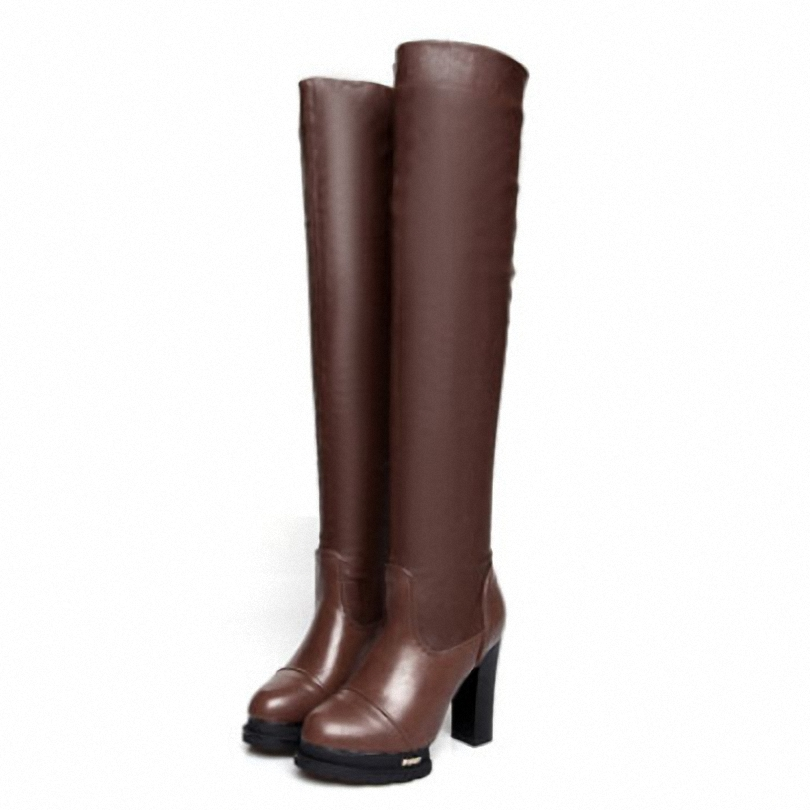 ENAYER 2014 NEW fashion knight boots for women motorcycle boots sexy high heels shoes Elasticity PU over the knee boots<br><br>Aliexpress