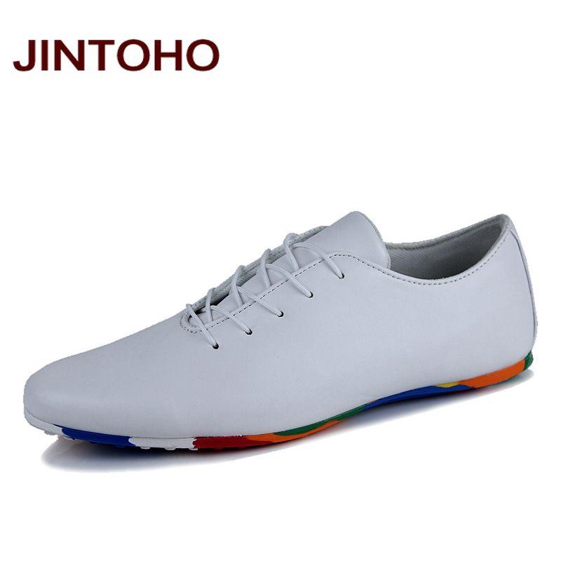 JINTOHO fashion men's leather moccasin shoes pointed toe dress wedding shoes black & yellow & white business glitter men flats(China (Mainland))
