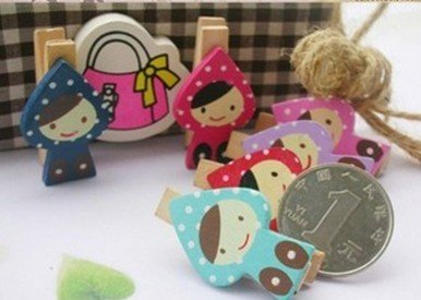 Freeshipping! New lovely girl Wooden Clip / Bag / Paper Clip / Special Gift / Fashion / wholesale(China (Mainland))