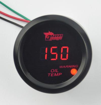 Universal 52mm Black shell Red Backlight  Car Racing Refit Oil temp gauge Oil temperature  Warning function<br><br>Aliexpress