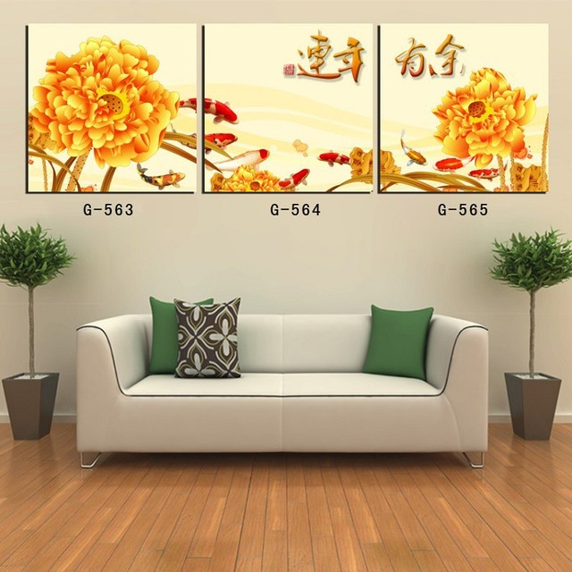 Quadros Para Sala De Estar Simples ~ de sala tamanho medioPainel Koi Pinturas de Parede Para Sala de estar