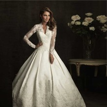 Royal Ball Gowns Celebrity Dress Satin Lace Long Sleeve Kate Middleton Wedding Dress Free Shipping(China (Mainland))