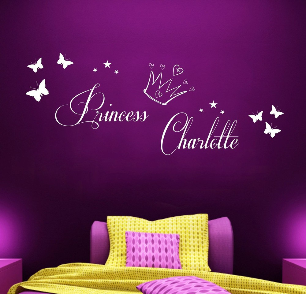 Personalised Princess Vinyl Wall Art Sticker Girls Bedroom