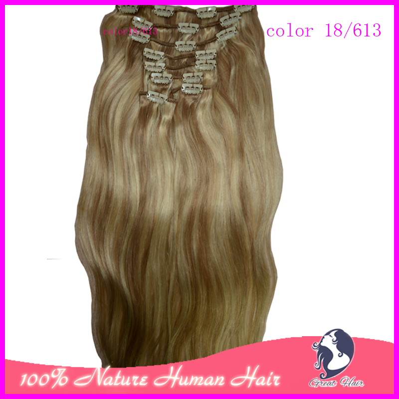 """18""""-24"""" 100% Real Natural Hair Clip in Hair Extension 120g 8 Pieces/ Set Straight Clip on Hair Extension, Free Shipping(China (Mainland))"""