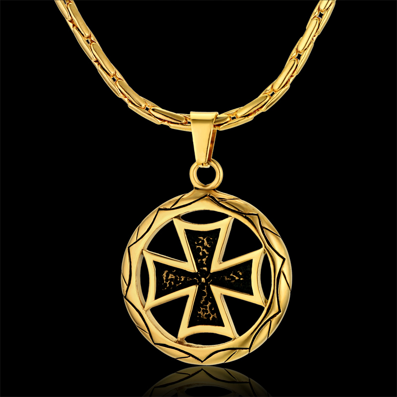 Luxury Creative Jesus Cross Necklace, 2 Usage Chunky necklaces amp pendants Wholesale,18K Gold Plated Men Women Ethnic Jewelry(China (Mainland))