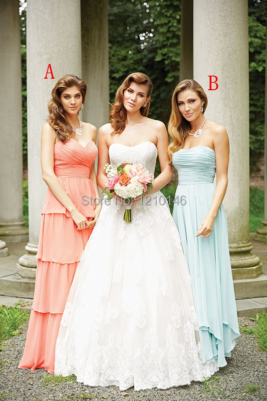 Two Styles Strapless Ruched Tiers Chiffon Coral/Mint Long Bridesmaid Dresses 2015(China (Mainland))