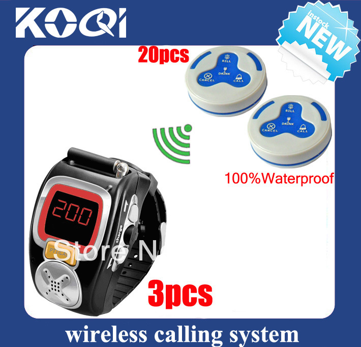 Electronic waiter caller DHL/EMS free shipping free service calling of 3pcs watch pager and 20pcs 4key call service buzzer(China (Mainland))