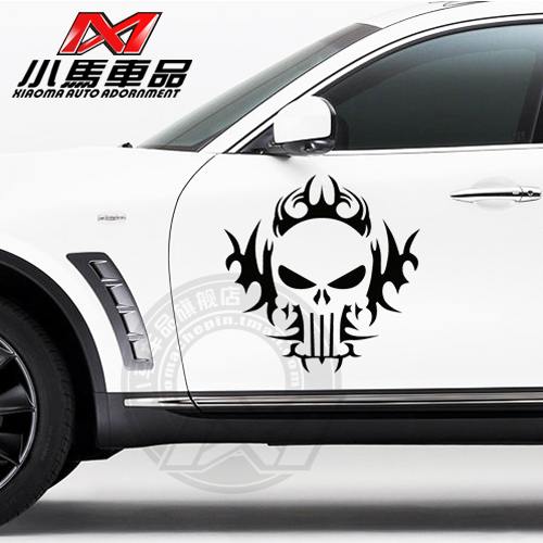 Freeshipping SKULL pattern car side door sticker,universal personality reflective car styling ,car modified tags(China (Mainland))