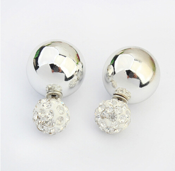 Gold / Sliver Ball Pearl Stud Earrings