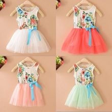 Baby Girls Dress Princess Tulle Tutu Dress Hot Sale Child Flowers Bowknot Party Dresses 2-6Y New L4