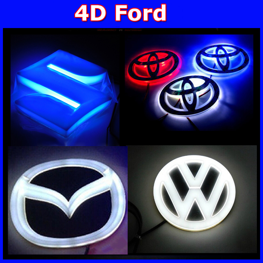 wholesales LED 4D car logo light Car Logo Auto Badge Light Blue /Red/White Light for f0rd 10sets<br><br>Aliexpress