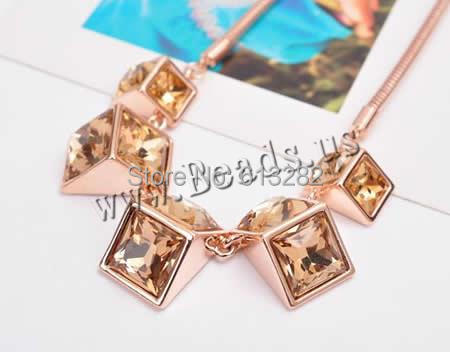 Free shipping!!!Crystal Necklace,Chinese Jewelry Company, Zinc Alloy, with brass chain & Crystal, with 5.5cm extender chain