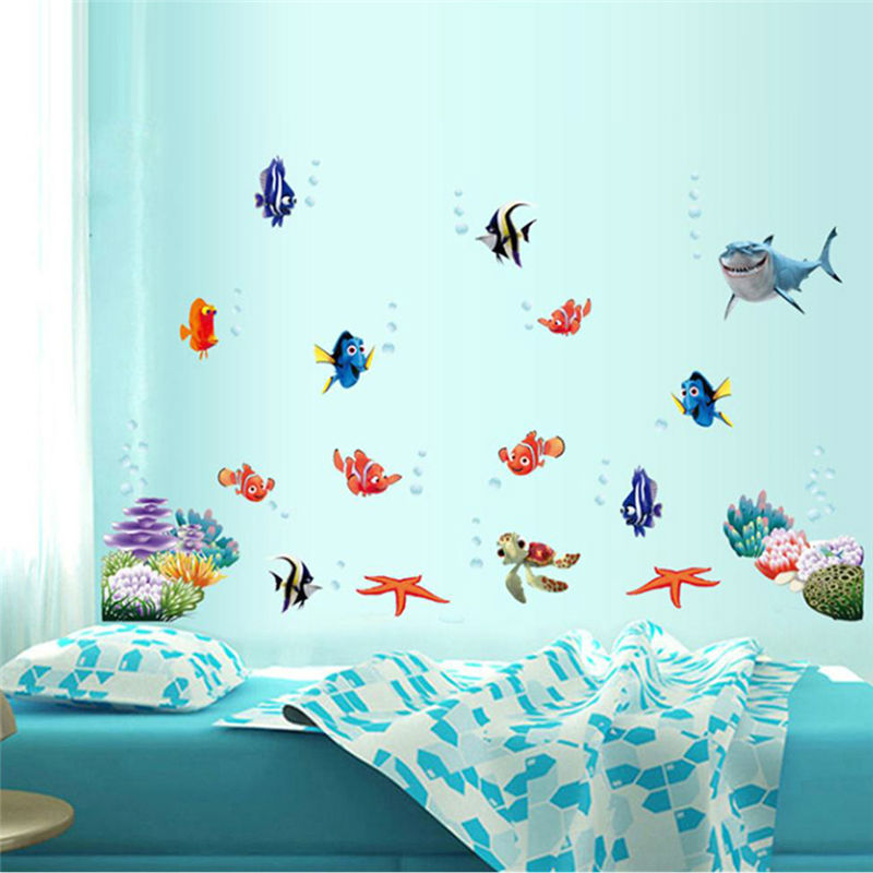 3d movie stickers finding nemo wall decals nursery for Cartoon mural painting