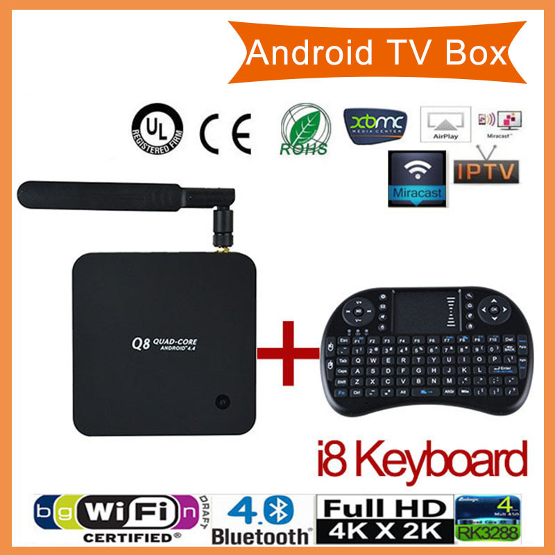 keyboard+Set Top Box HDMI XBMC Media Player RK3288 Android Smart TV Box Quad-Core Mail-T7 GPU 2G 8G 2.4G/5G Wifi Bluetooth4.0 3D(China (Mainland))