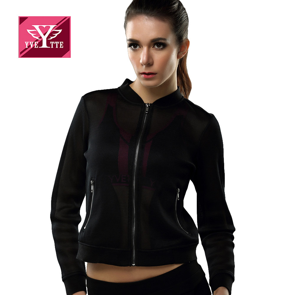 Yvette Black Long Sleeve Stand Collar Novelty Designer Mesh Stylish Cool Motorcycle Women Cropped Top Fashion Outwear JacketОдежда и ак�е��уары<br><br><br>Aliexpress