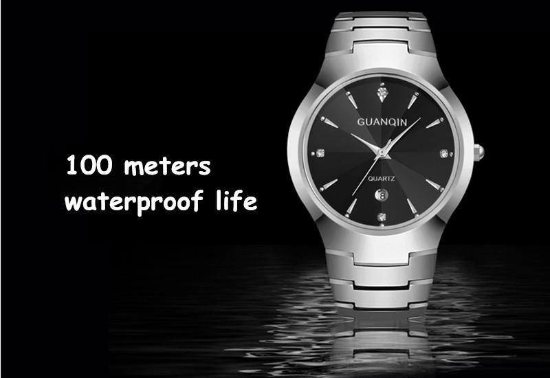 GUANQIN моды часы женщины люксовый бренд женщины стали вольфрама водонепроницаемый мужчины кварцевые часы reloj mujer дамы relógio feminino