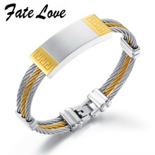 Vintage 316L stainless steel Rope chain Bracelet for Men Silver & Gold Plated Bangle Length From 7.6Inch to 8.6Inch GH755(China (Mainland))