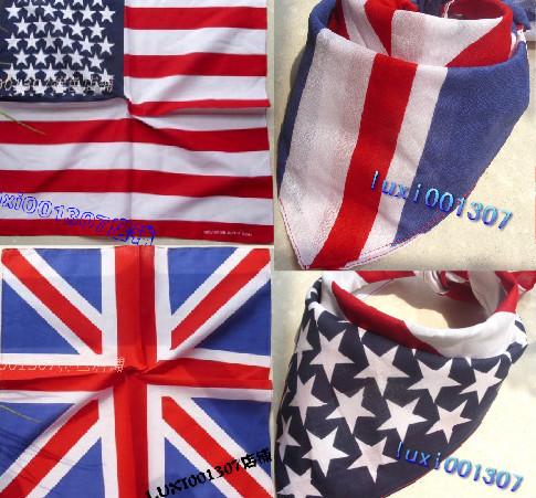 Hot  UK Union & America  Jack flag bandana Head Wrap Scarf Neck Warmer Double Sided Print Free Shipping 10Pcs
