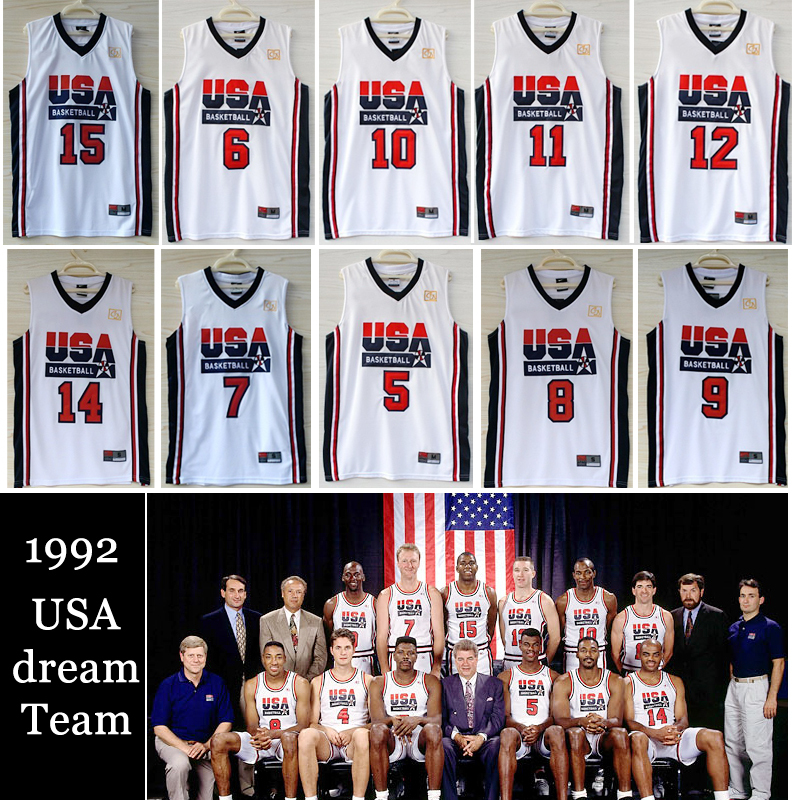 Free shipping 1992 USA dream team jersey michael jordan,larry bird,johnson,drexler,stockton,barkley,david robinson,pippen,ewing(China (Mainland))