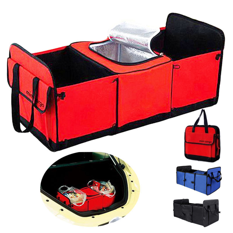 Auto Travel Foldable Multi Compartment Fabric Car SUV Storage Basket Trunk Organizer With Cooler Set Storage Bag Box(China (Mainland))