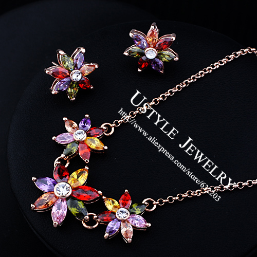 USTYLE JEWELRY 18K Rose Gold Plated High Quality Amethyst Crystals Necklace and Earrings Bridal Jewelry Set  FREE SHIPPING61432<br><br>Aliexpress