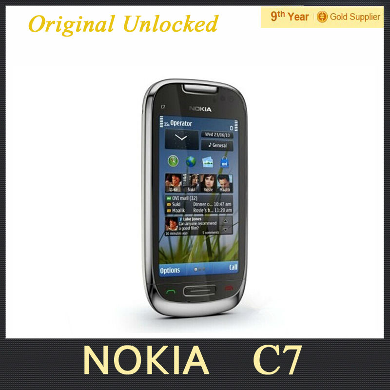 "Original Nokia C7 Mobile Phone 3.5"" Capacitive Screen 8.0MP NFC WIFI 3G WCDMA Unlocked C7 Cell phone Refurbished(Hong Kong)"