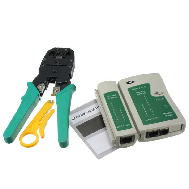 RJ45 RJ11 RJ12 CAT5 CAT5e Portable LAN Network Tool Kit Utp Cable Tester AND Plier Crimp Crimper Plug Wire Stripper Heads 4-in-1(China (Mainland))
